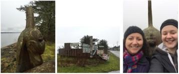 Exploring Haida Gwaii: NEMES Selfies (Lauren and Rosaline), Carvings and Environmental Protests in Old Masset