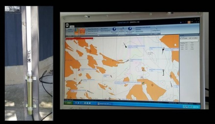 AIS Antenna (left image) and screen shot of AIS interface Smarter Track LITE (right image)