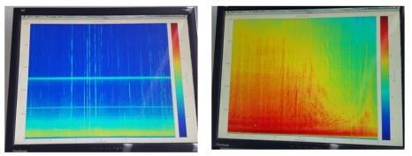 Spectrograms before (left) and after (right) passing pleasure craft over hydrophone.